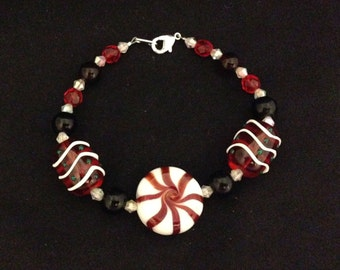 Peppermint, red and black crystal bracelet