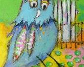 Today I choose joy - original mixed media painting - raw - bird - folk art - Piarom
