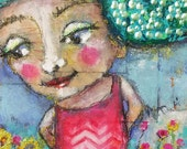 Green is the color-original mixed media painting - raw - folk art - Piarom