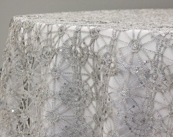 Silver Metallic Lace Table Overlay, 90x90 inches, Chemical Lace, Wedding Table Overlay, Cake Table, Sweetheart Table, Dessert Table