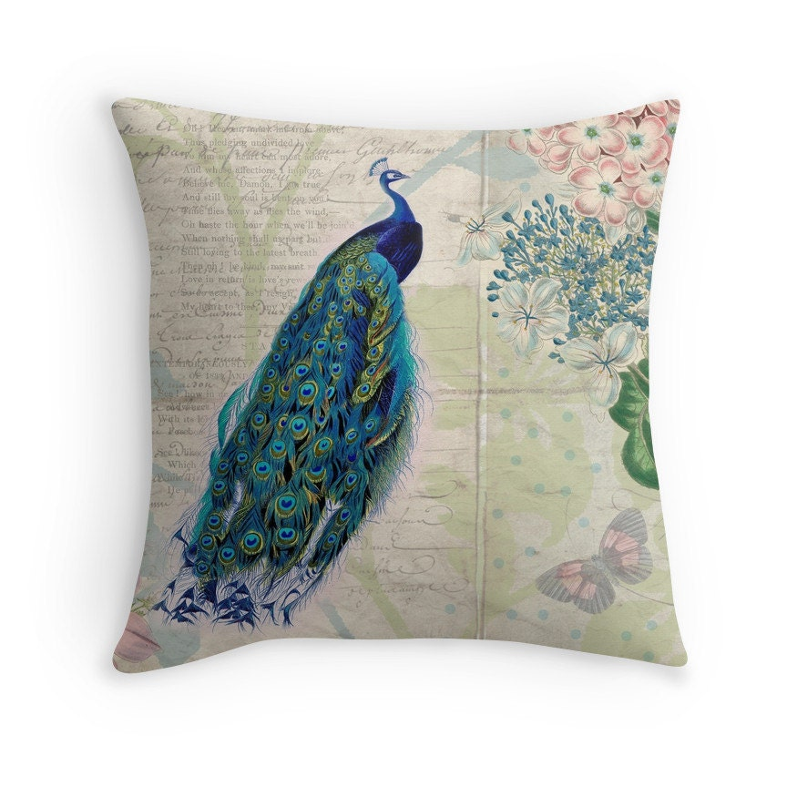 Throw Pillow Peacock : Peacock Pillow Botanical Decor Throw Pillow Covers Love