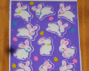 Amscan Autocollants Easter White Bunny Rabbit Stickers Great Basket Stuffers NIP