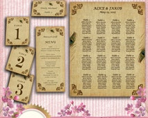 Wedding Seating Chart, Table Numbers 1-20, Place Card, Menu - Vintage Peacock Feather - Download Instantly, EDITABLE Text in MS Word