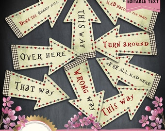 Alice in Wonderland Direction Arrow Signs / Set of 9 / - This Way - That Way - Mad Hatter Tea Party - Instant Download + Editable Text