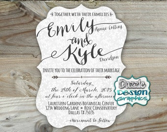 Casual Wedding invitation | Elegant fonts | Die Cut invitations | #506 Professional Prints - FREE SHIPPING