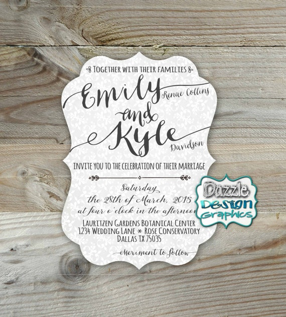 Good Wedding Invitation Fonts: Casual Wedding Invitation Elegant Fonts Die Cut