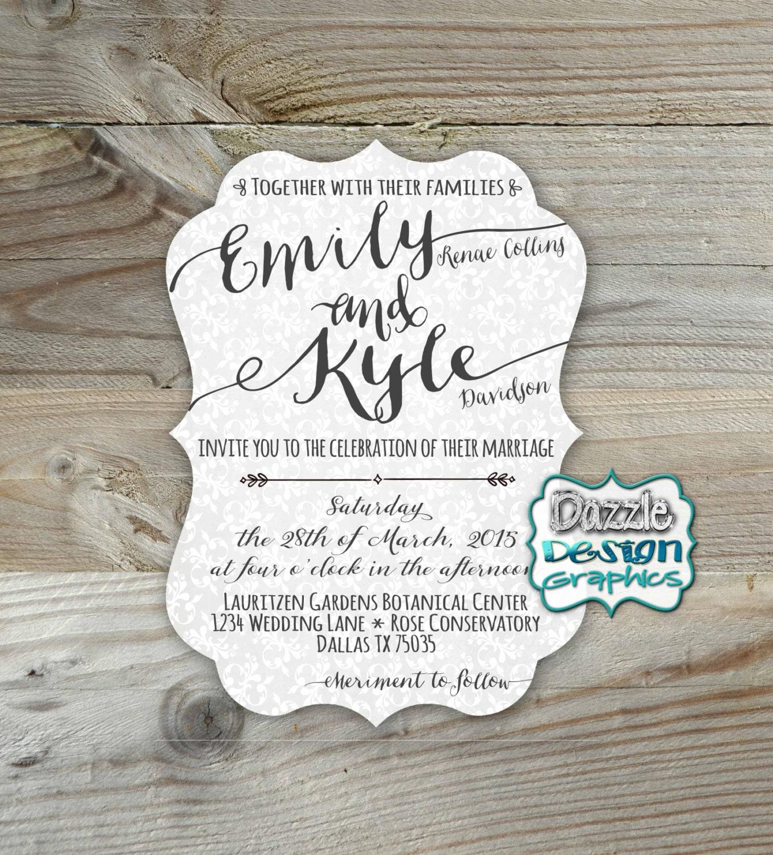 Casual Wedding Invitations: Casual Wedding Invitation Elegant Fonts Die Cut
