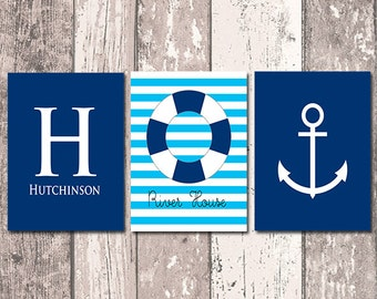 Nautical Family Name Sign -  Monogram Initial and Your Name - Stripes - River House - Anchor -  Set of Three Nautical Prints