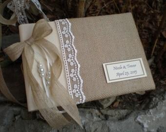 Personalized Rustic wedding guest book- burlap guest book-bridal wish book - burlap cotton and lace