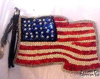 Sequins & Beaded Waving American Flag (Large) Applique