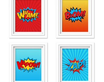 Superhero Wall Art - Superhero Decor - Boys Room Wall Art - Superhero Sign Prints - Playroom Decor - 8x10 Prints - Instant Download