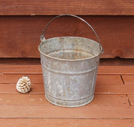 Old rustic galvanized number 80 bucket small by for Rustic galvanized buckets
