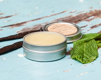 Vanilla Mint LIP BALM - 0.5 oz in metal tin // Nourishing + Organic + Made with <3 in the Midwest
