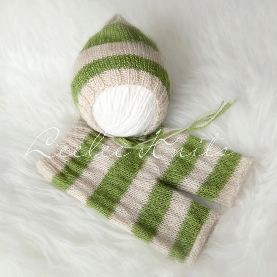 Pattern - Striped Newborn Pixie Hat and Striped Newborn Pants Knitting Pattern
