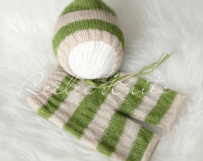 Pattern - Striped Newborn Pixie Hat and Striped Newborn Pants Knitting Pattern