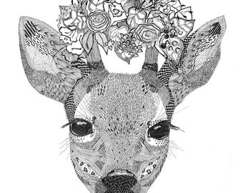 A3 poster with a deer print. Great gift! For your home or cottage.