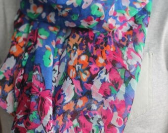 Large Floral Women's Scarf Gift Wrapped- Available in Blue and Orange