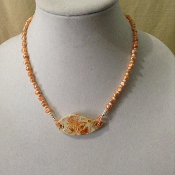 Freshwater Pearl and Handcrafted Ceramic Pendant Necklace NSS6151786