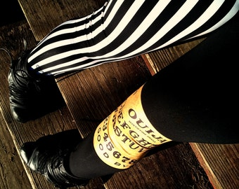 Psycho stripe split leg Ouija board Leggings pants lycra