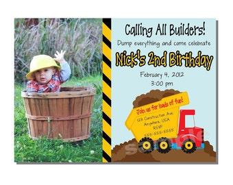 Construction Invitation Dump Truck Birthday Party - DIGITAL or PRINTED