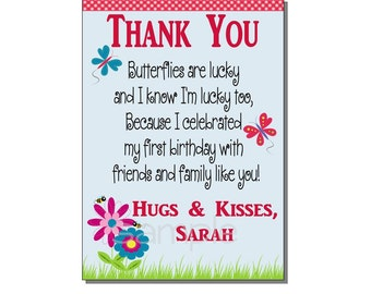 Garden Party Thank You Card Birthday Party - DIGITAL or PRINTED