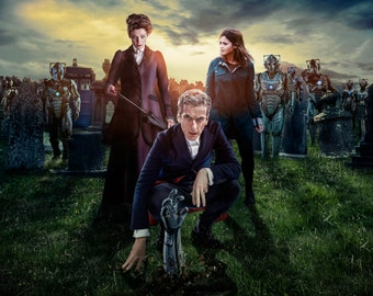 """Doctor Who UK Imported 17"""" X 11"""" 12th Doctor, Missy, Clara and Cybermen Print"""