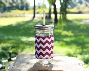 Purple Chevron Custom Mason Jar Tumbler, Chevron Monogram, Personalized Tumbler, Mason Jar Chevron