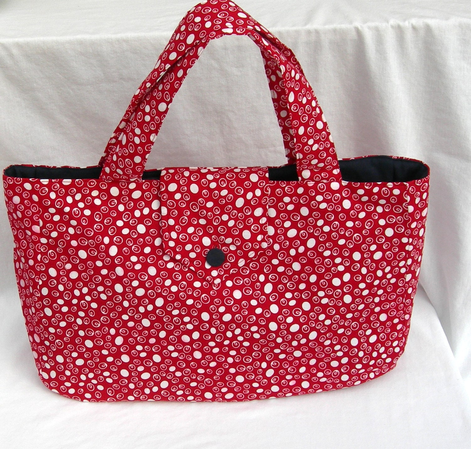 Zippered Knitting Bag : Zippered red fabric knitting bag large with