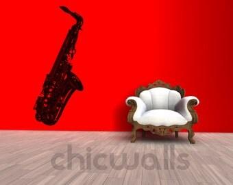 Saxophone Music Musician Instrument Decal Wall Decor Vinyl Sticker Art Band Dorm Nursery Room