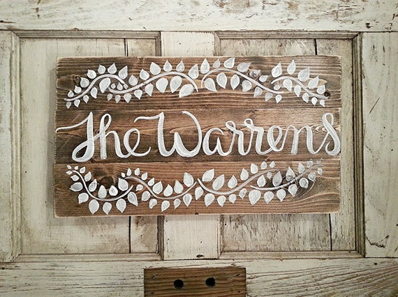Rustic Home Decor Last Name Sign Custom by SalvagedChicMarket