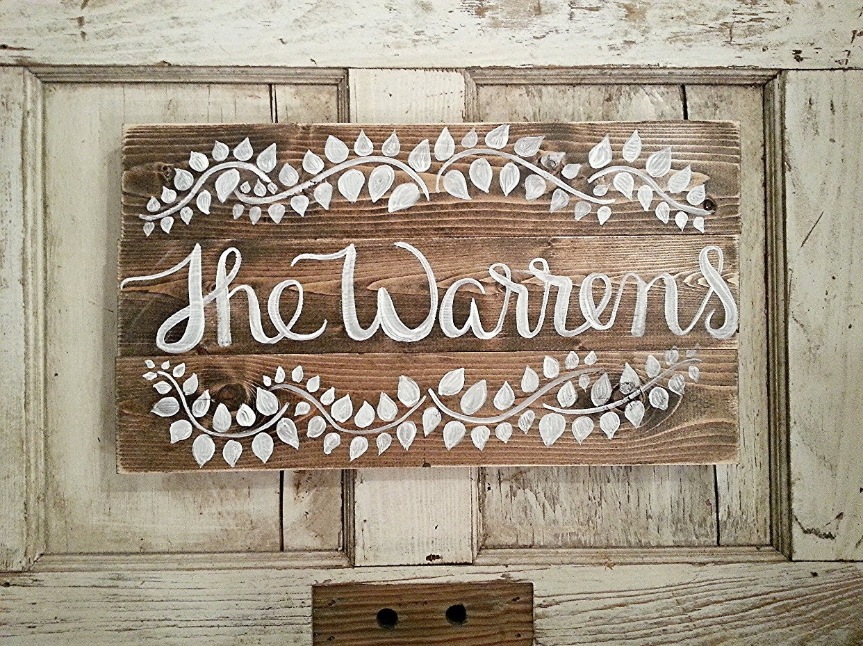Rustic home decor last name sign custom order for Home decor names