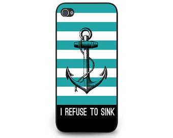 Anchor Phone Case - Teal Stripe iPhone 6 Case - Nautical Anchor iPhone 6 Case - Refuse to Sink Hope Anchor iPhone 6 Case