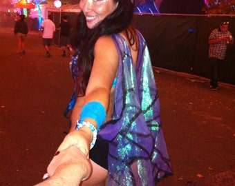 SAMPLE --- Butterfly Fairy Rave Festival Isis Wings in Blue and Purple