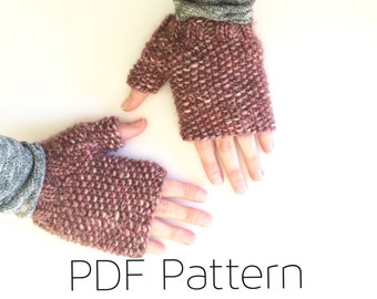 Easy Fingerless Mitts/Fingerless Mittens Pattern/Knitting Pattern/Seedstitch Mittens/Fingerless Mitts pdf/Mitten Pattern