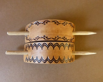 Tooled leather hair barrette with Tasmanian Oak Stick-Handcrafted in Australia
