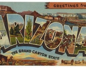 Arizona vintage postcard | Grand Canyon | greetings | 1940s travel | home state | vacation linen postcard | desert decor | southwestern art