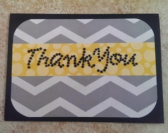 Handmade Thank You Card Chevron Polka Dots Rhinestones