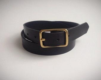 Black Leather slim belt with brass buckle