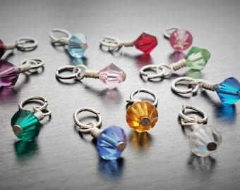 Add-on Swarovski Crystal Birthstone Dangle Charm-6mm-Wire Wrapped-Great Gift Idea