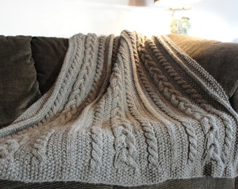 Hand Knit Braided Cable Throw / Blanket / Afghan - Charcoal / Dark Gray