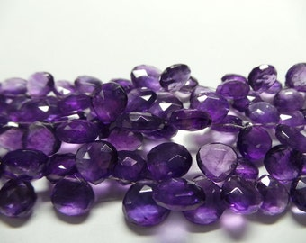 Exclusively on My Shop - Full 8 Inches Strand Amazing & Stunning AAAAA++++ Top Quality - 7-12 MM Natural AMETHYST Faceted Heart Briolettes