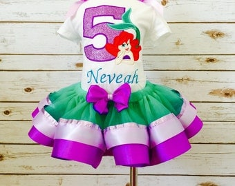 Little mermaid birthday outfit ribbon tutu purple and green mermaid embroidered shirt glitter applique