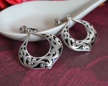 Silver DangleEarrings Silver Hoop Earrings Silver Filigree Earrings  Pierced or Non-Pierced Large Hoop Big Hoop Earring Big Dangle Earring