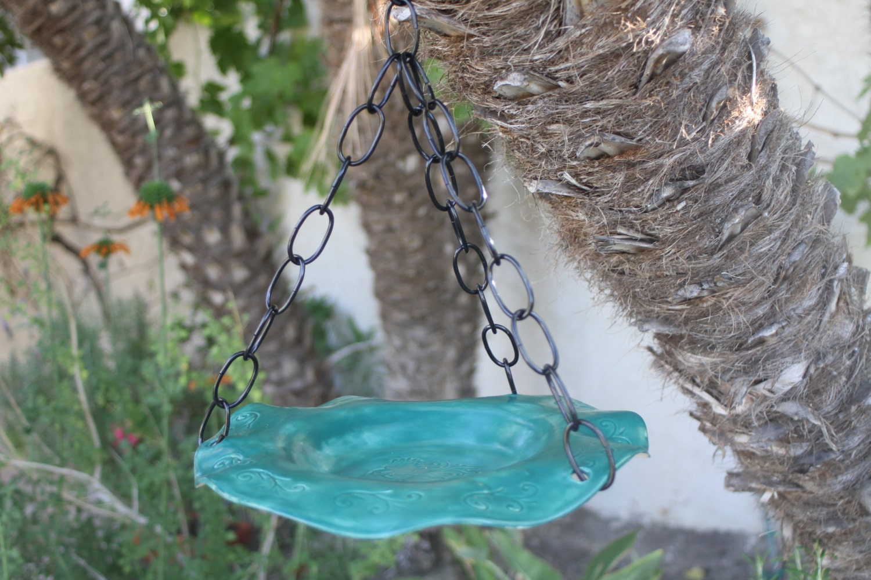 Handmade Hanging Bird Bath Hanging Bird Feeder Ceramic Bird