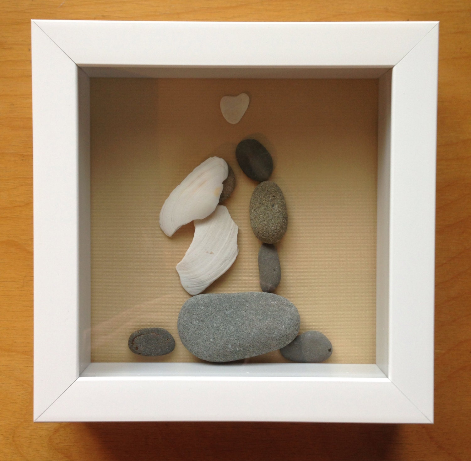 Wedding Gift Shadow Box : Pebble art Wedding gift couple love shadow box unique