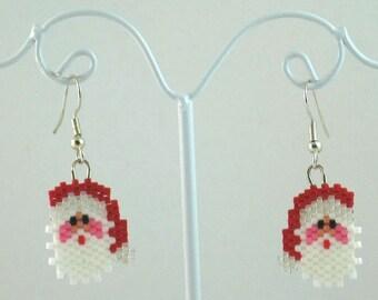 Santa Claus Beaded Earrings - Christmas Jewelry