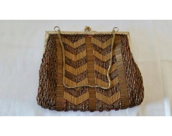 Vintage Bronze Beaded Purse