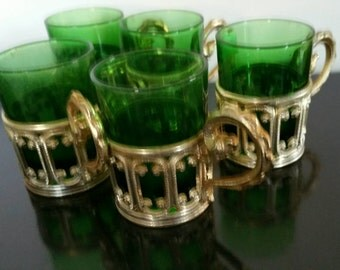 Five Mid Century Forest Green Shot Glasses In Gilded Removable Holders