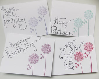 Birthday Card Set - Birthday Card Pack of Four - Dandelion Birthday Card - Fancy Birthday Card For Her - For Mom - For Sister - For Friend