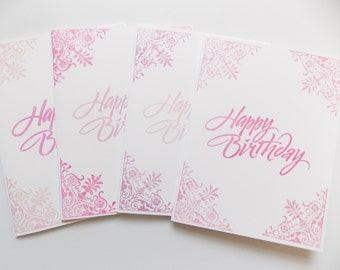 Birthday Card Set - Birthday Card Pack- Pink Birthday Card - Fancy Birthday Card - For Mom - For Sister - For Friend - For Girls -